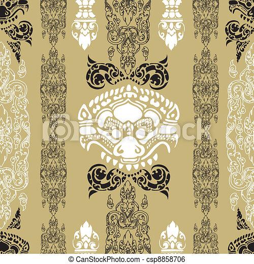 seamless Cambodian pattern - csp8858706