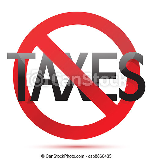 Clipart Vector of no taxes illustration design over white ...