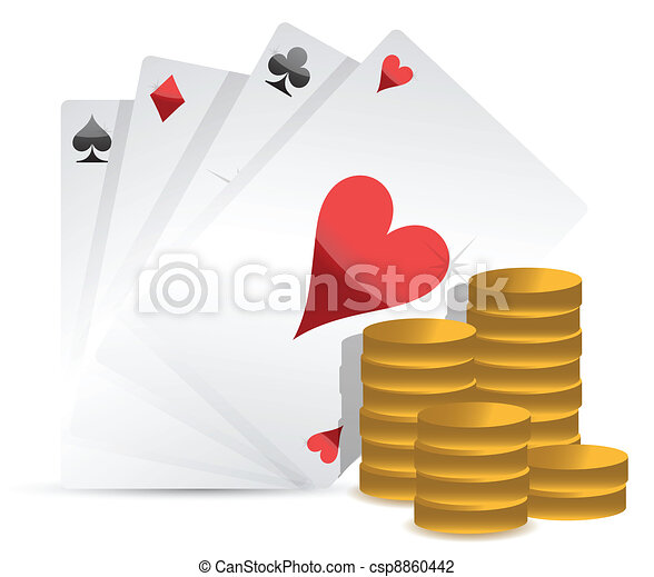 Poker cards and gambling money - csp8860442