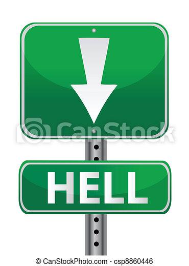 hell green street sign illustration - csp8860446
