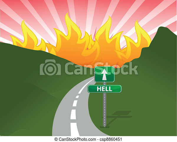 Road to hell concept illustration - csp8860451