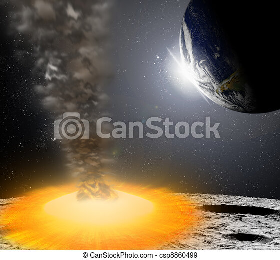 Attack of the asteroid on the planet in the universe. Abstract illustration of a meteor impact. - csp8860499
