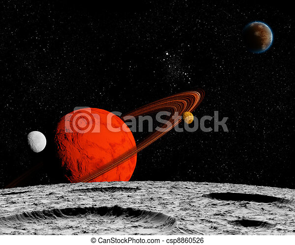 View of the Universe from the moon's surface. Abstract illustration of distant regions. - csp8860526