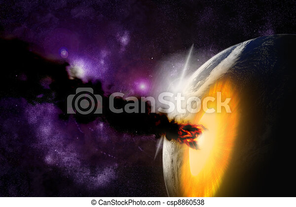 Attack of the asteroid on the planet in the universe. Abstract illustration of a meteor impact. - csp8860538