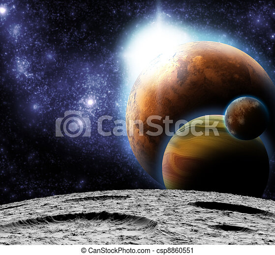 View of the Universe from the moon's surface. Abstract illustration of distant regions. - csp8860551