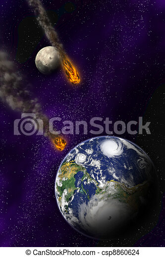 Attack of the asteroid on the planet in the universe. Abstract illustration of a meteor impact. - csp8860624