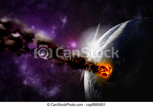 Attack of the asteroid on the planet in the universe. Abstract illustration of a meteor impact. - csp8860651