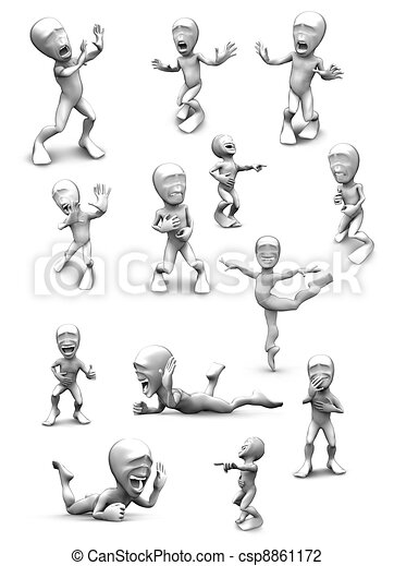 3d little person who very frightened, trembling in fear and very loud laughs - csp8861172