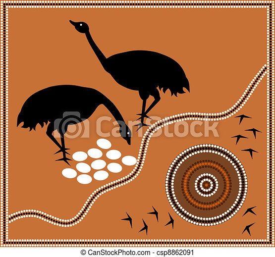 Aboriginal style of dot paintin emu - csp8862091