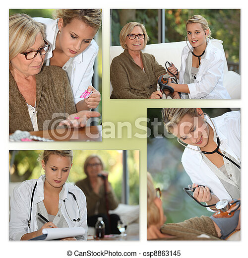 Mosaic of young female doctor with elderly patient - csp8863145