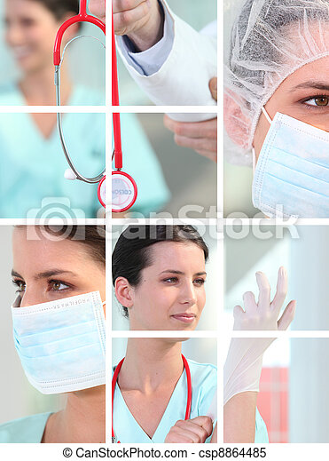 montagem, médico - csp8864485