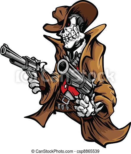 Skeleton Cowboy with skull and Hat - csp8865539