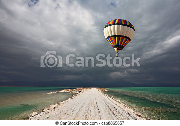 The balloon flying in a thunderstorm - csp8865657