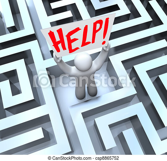 Person in Labyrinth Maze Holding Help Sign - csp8865752