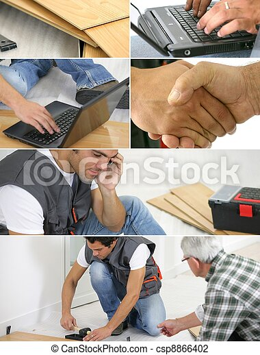 Montage of  a laborer laying laminate floor - csp8866402