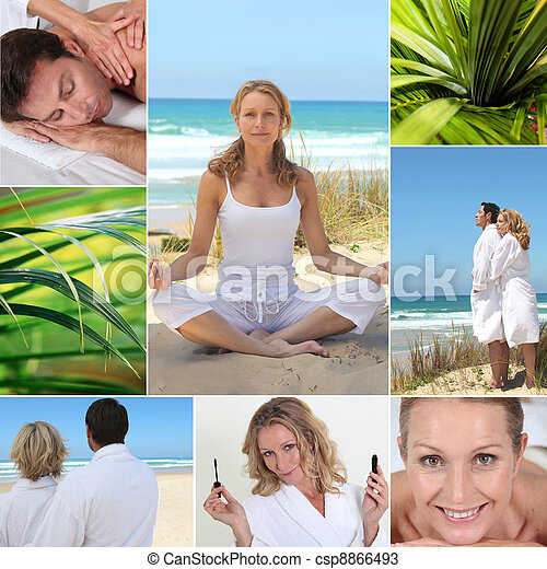 Mosaic of couple on holiday - csp8866493