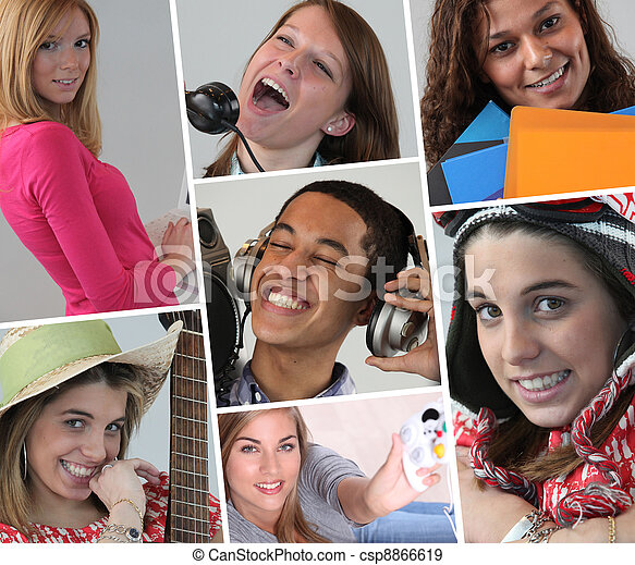 A collage of adolescents - csp8866619