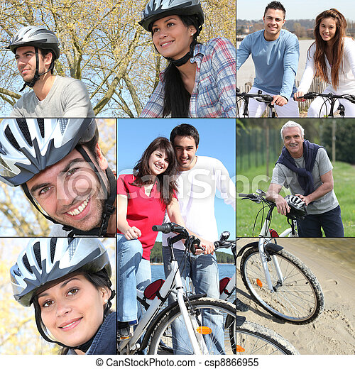 Collage of people riding their bikes - csp8866955