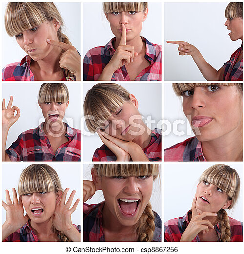 Montage of woman pulling a variety of facial expressions - csp8867256