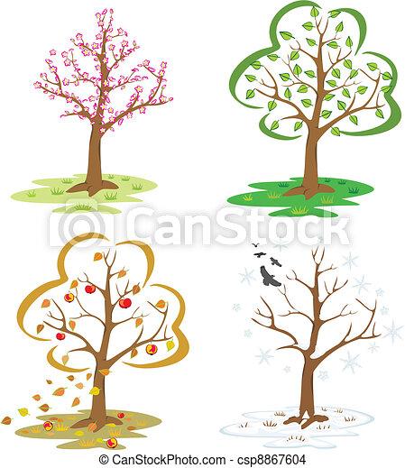 Vecteur eps de quatre saisons tomber feuilles hiver arbre fleurir csp8867604 - Dessin 4 saisons ...