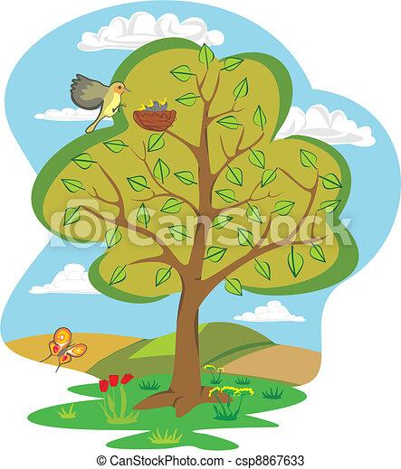 summer tree - four seasons - csp8867633