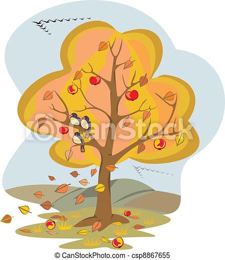 autumn tree - four seasons - csp8867655
