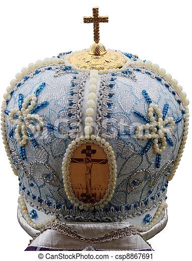 blue mitre - solemn headgear of the orthodox bishop - csp8867691