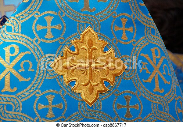 Holy Cross on blue solemn slavic orthodox priest's mantle - csp8867717