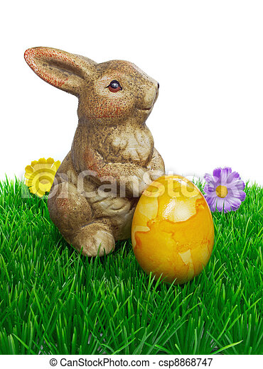 easter bunny with egg - csp8868747