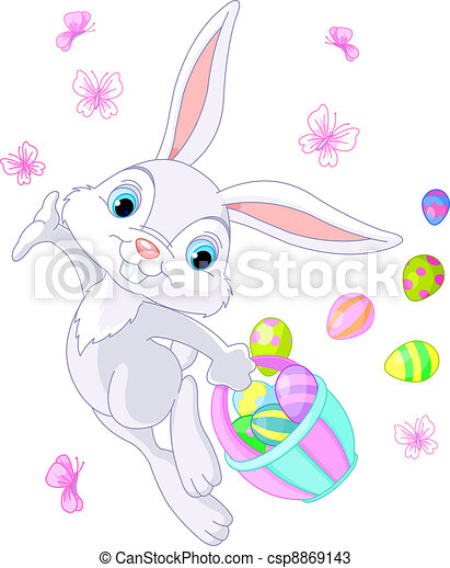 Easter Bunny Hiding Eggs - csp8869143