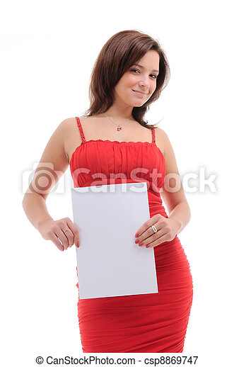 Sexy woman with blank doc. - csp8869747