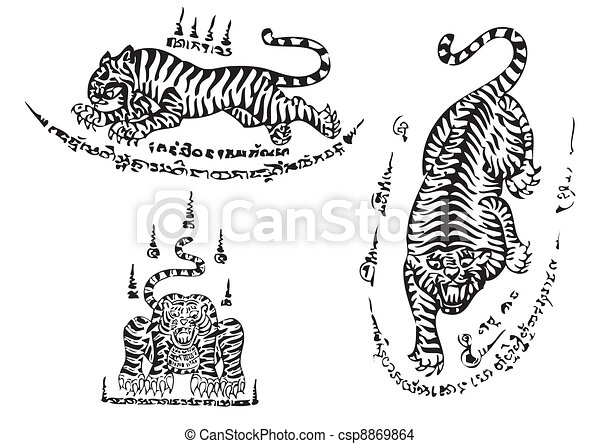Tiger traditional thai art Tattoo  - csp8869864
