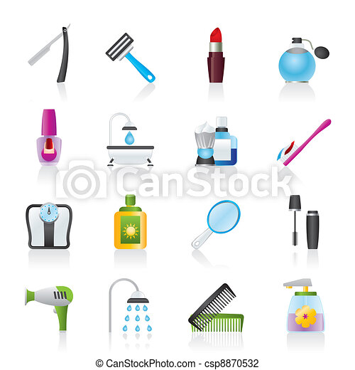 body care and cosmetics icons - csp8870532