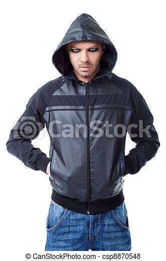 Man gangster black jacket hood pockets - csp8870548