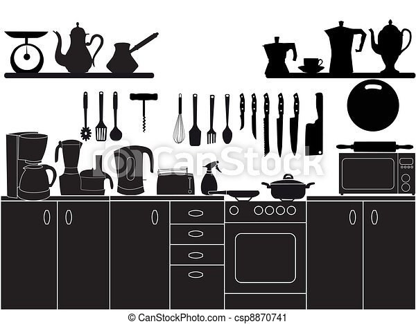 vector illustration of kitchen tools for cooking - csp8870741
