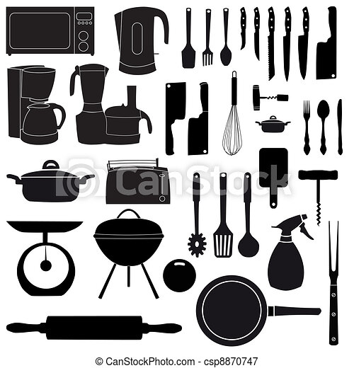 vector illustration of kitchen tools for cooking - csp8870747