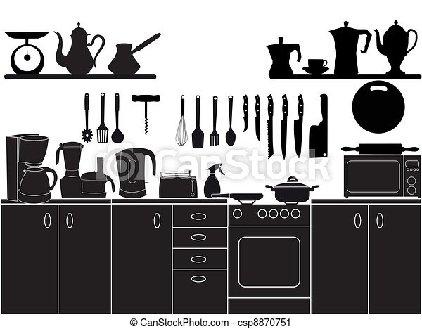 vector illustration of kitchen tools for cooking - csp8870751