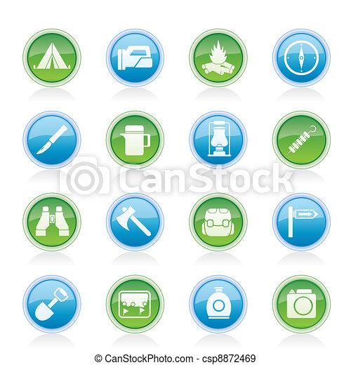 tourism and hiking icons  - csp8872469
