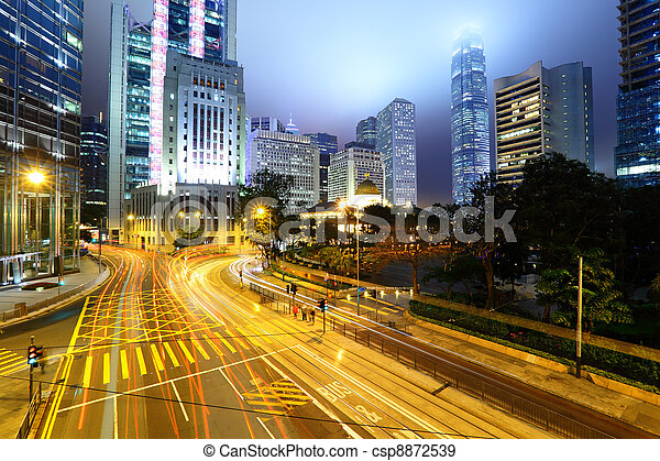 traffic light stream and highrise buliding - csp8872539