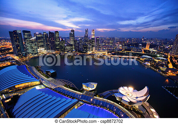 Singapore city skyline at night - csp8872702