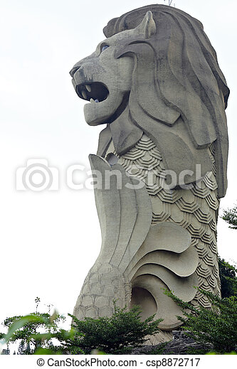 merlion statue, symbol of singapore city, state on sentosa island - csp8872717