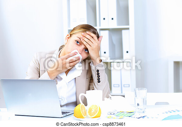 People with cold and flu  at work place - csp8873461