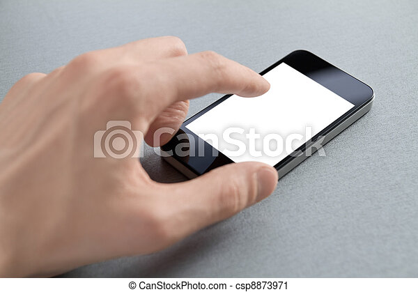 Hand Touching Blank Mobile Phone - csp8873971