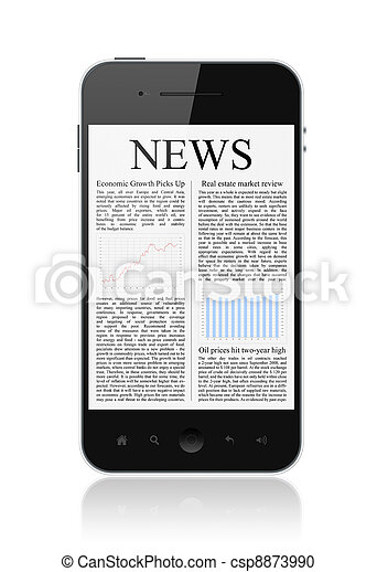 News On Mobile Smart Phone Isolated - csp8873990