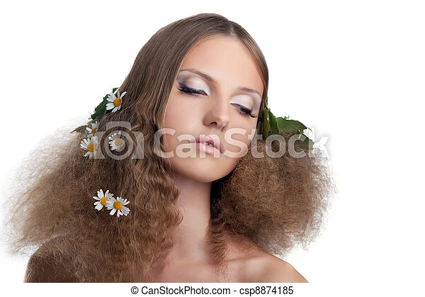 Naked girl hide with cloth - camomile in hairs - csp8874185