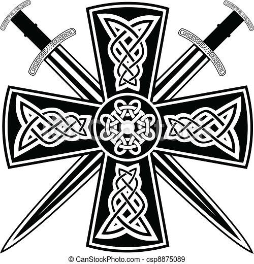 Celtic Sword Drawing Celtic Cross Csp8875089