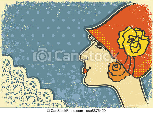 Vintage woman portraits.Retro background on old paper - csp8875420