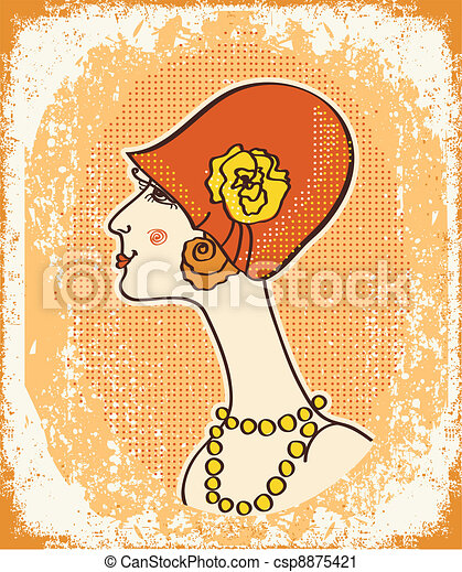 Vintage woman face in fashion hat on old paper.Retro - csp8875421