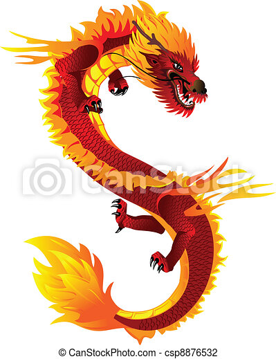 vector illustration of dragon full i color the vector image of head of the asian csp8876532