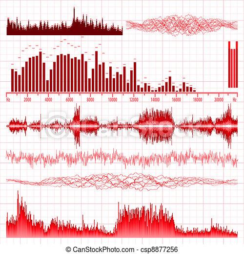 Sound waves set. Music background. EPS 8 - csp8877256
